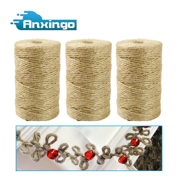 3Pcs Burlap Natural Fiber Jute Twine Cord Craft DIY Gift Christmas dress up US