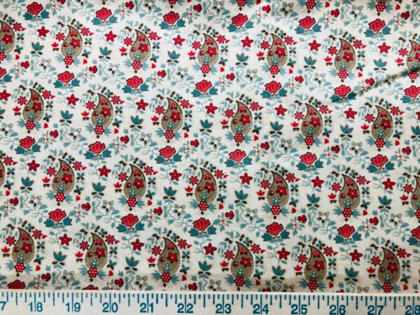 Moda Collections for a Cause Friendship 21quot; cut Sew Quilt Fabric Red Cream 46122