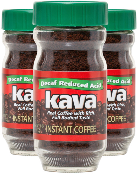 Kava Decaf Acid Reduced Instant Coffee in Glass Jar 4 Ounce Pack of 3