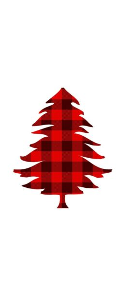 """3"""" Christmas Tree Sticker Red Plaid Holiday Outdoors Hunting Cabin Nature Winter"""