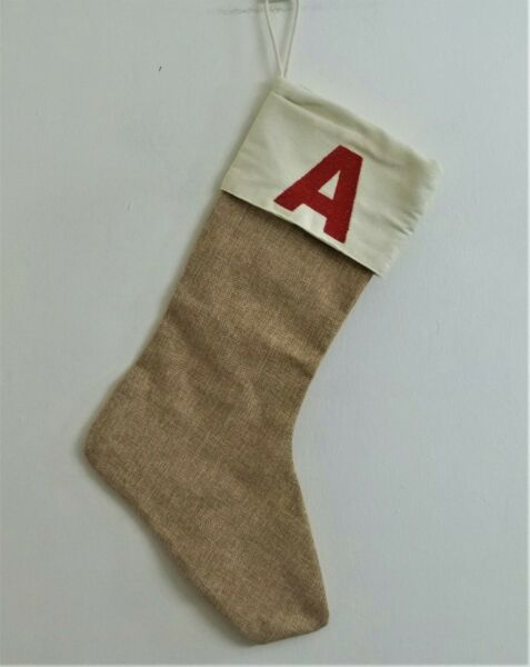 Initial quot;Aquot; Burlap Like Christmas Stocking Embroidered Letter Holiday