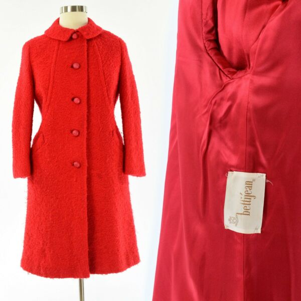 50s Vintage Womens L Bright Red Boucle Wool Coat Betti Jean