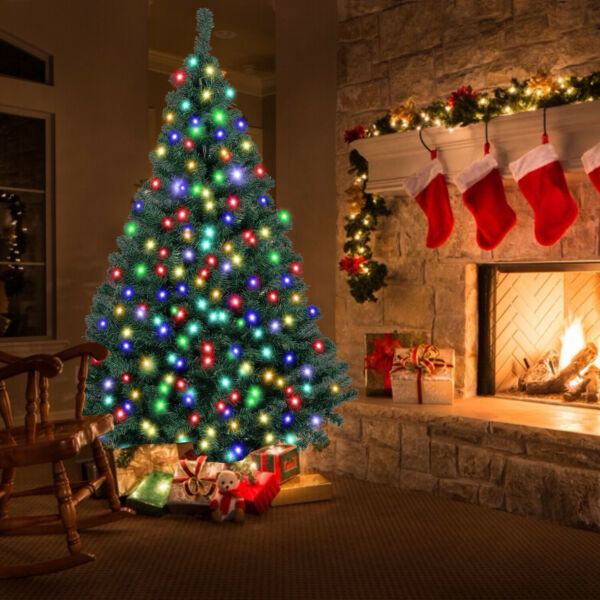 5 6 7ft Artificial Christmas Tree Xmas Pine with Multicolor LED Lights 8 Modes