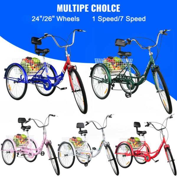 Foldable Adult Tricycle 24#x27;#x27; 26#x27;#x27; 1 7 Speed 3 Wheel Folding Trike Bike w Basket $189.99