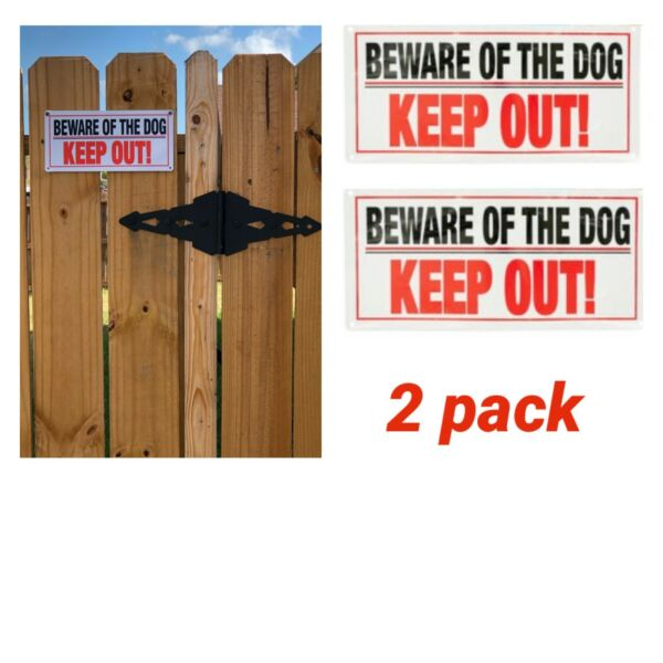 """2x Beware of Dog Warning Sign Keep Out Thick Plastic 5"""" X 10"""" Fast Shipping $9.99"""
