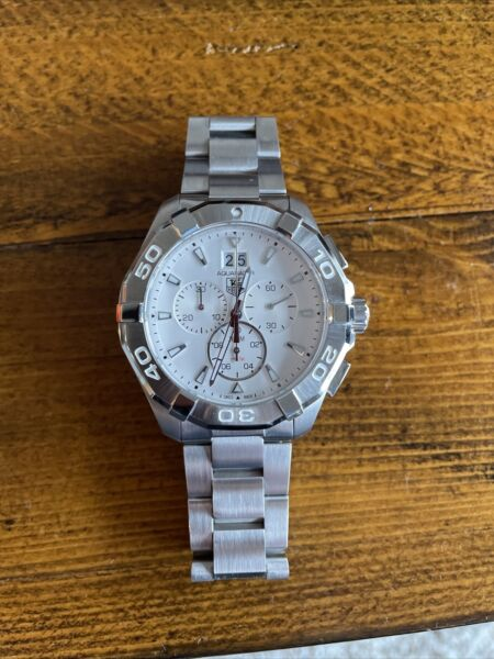 TAG HEUER Aquaracer chronograph CAY1111 Steel Men#x27;s Watch white dial 43mm