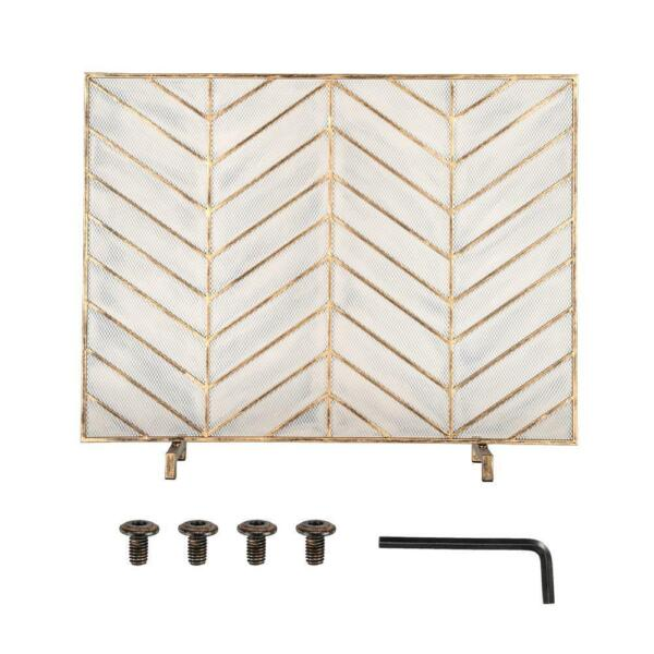 Gold Decorative Fireplace Screen w Herringbone Pattern Free Standing Spark Guard
