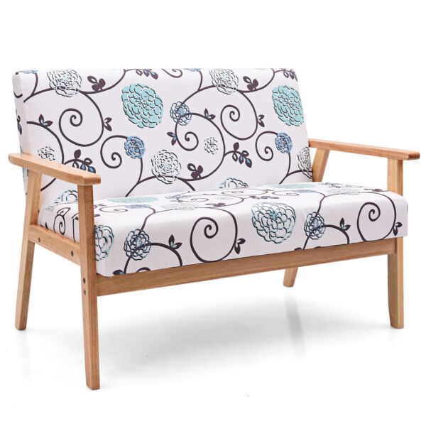Modern Fabric Loveseat Sofa Couch Upholstered 2 Seat Armchair Whiteamp;Blue Floral $149.99