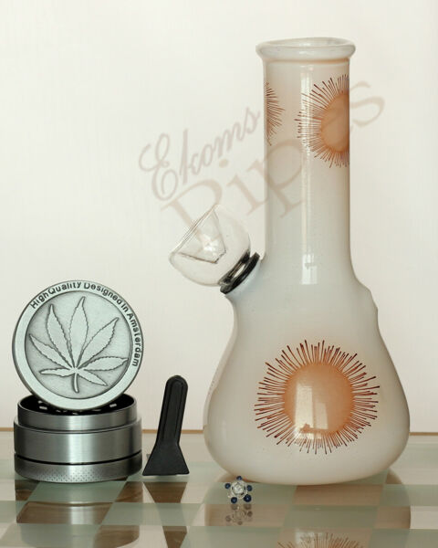 StarBurst Lilies Glass 5quot; Water Hookah Pipe Bong Bubbler amp; 3pc Herb Grinder $17.97