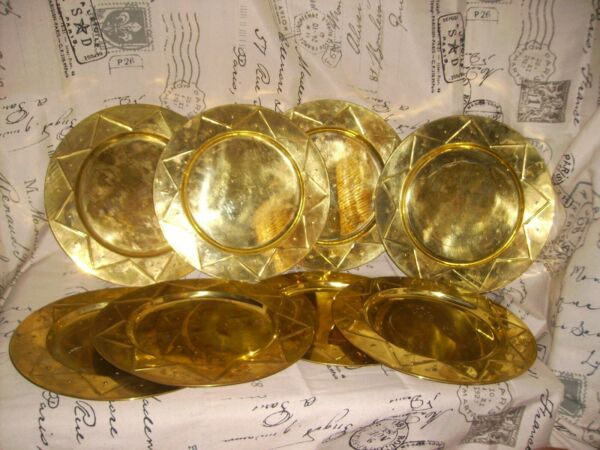 **Vintage Brass 12quot; Plate Chargers Lot Of 8 Star Pattern Tarnished Patina Nice**