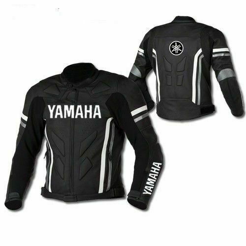 YAMAHA BLACK COWHIDE LEATHER TRACK DAYS MOTORCYCLE ARMOURED PROTECTION JACKET $164.99