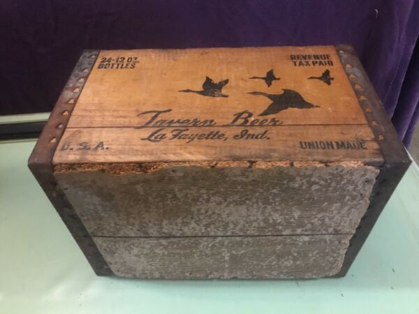 Vintage Rare Wood Beer Crate La Fayette tavern beer A piece of LafayetteIN hist