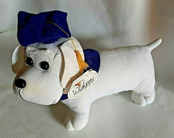 Plush Stuffed School Class Wiener Dog White Graduate Dog For Autographs Souvenir $14.95