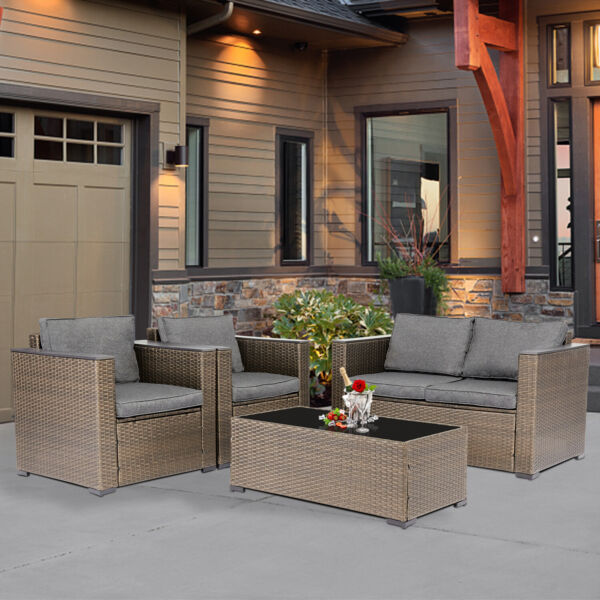Outdoor Furniture Set 4 PC PE Rattan Wicker Sofa Cushioned Couch w Coffee Table $459.99