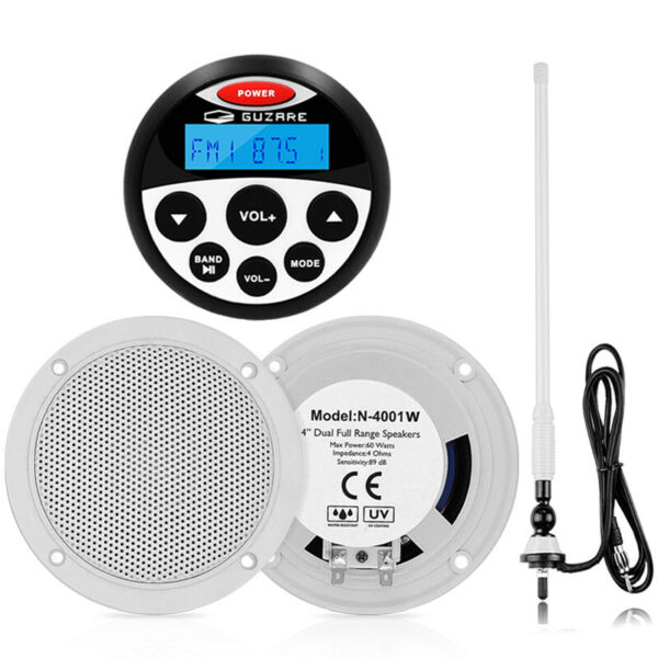 Marine Audio Radio Bluetooth Stereo Receiver 4#x27;#x27; Speakers Aerial $80.99
