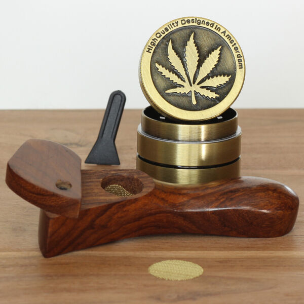Curved L2 Hand Crafted Smoking Pipe Tobacco Premium Wood Pipe amp; 4pc herb Grinder $15.89