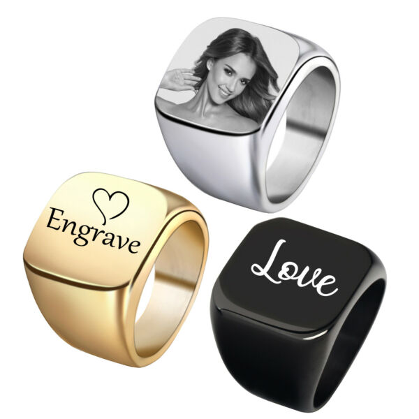 Custom Engrave Signet Ring Stainless Steel Personalized Name Photo Square Band $5.49
