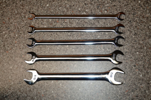 Craftsman 5 pc Thin Head Tappet Wrench Set Inch Full Polish SAE 3 8quot; 7 8quot;