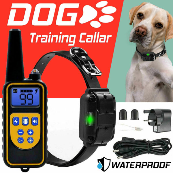 Electric Dog Training Collar Shock Vibration Anti Bark Remote Rechargeable 800Yd GBP 25.75