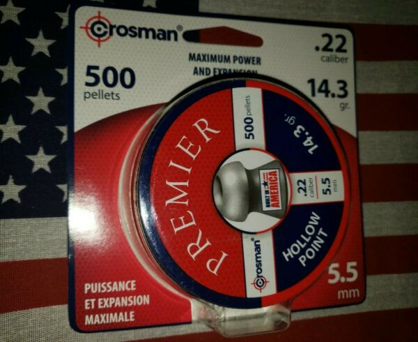 CROSMAN 22 CAL PREMIER HOLLOW POINT HUNTING AIRGUN PELLETS 14.3 gr 500 CT $19.74