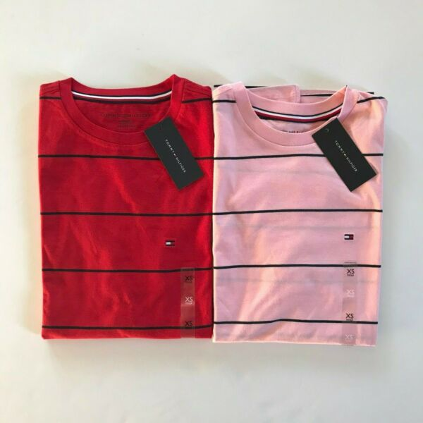 NWT Tommy Hilfiger Men#x27;s Striped Short Sleeve Cotton Crew Neck T Shirt Red Pink $19.99