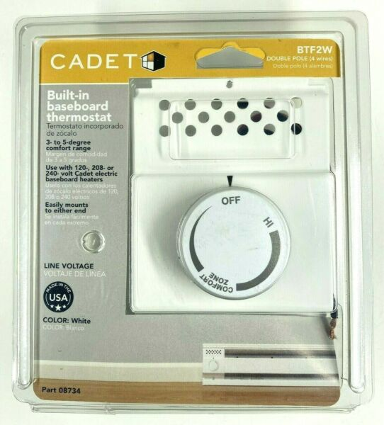 NEW Cadet BTF2W Built in Baseboard Thermostat White 08734 Double Pole 4 Wires