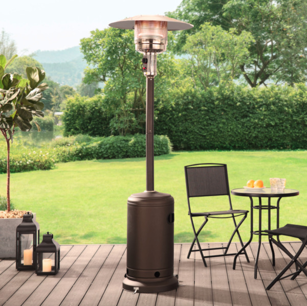 Mainstays 48000 BTU Mocha Steel Outdoor Propane Gas Patio Heater w Wheels