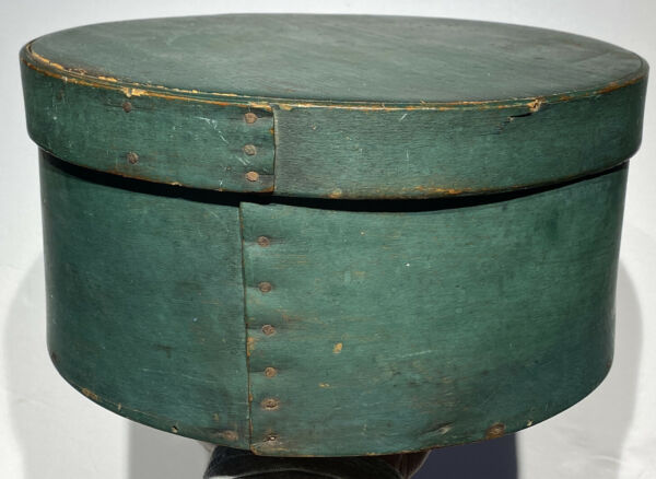 """Early 1800's Antique Exceptional Green Pantry Box 10"""" Original Paint Fantastic"""