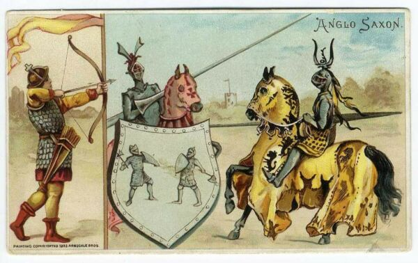 Anglo Saxon ARBUCKLE Coffee Trade Card 1893 JOUSTING Knights HUNTING Bow Arrow