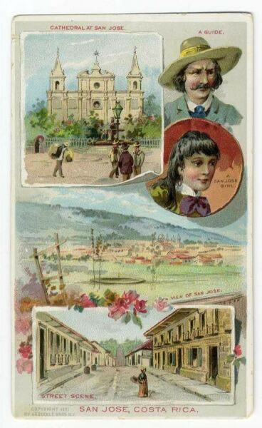 Costa Rica ARBUCKLE Coffee Trade Card 1891 SAN JOSE Cathedral PEOPLE