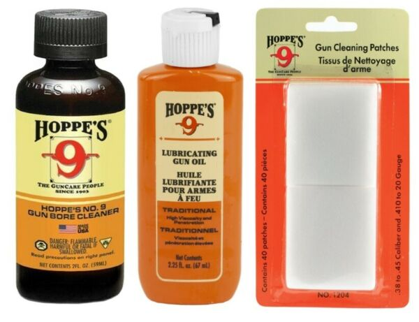 Hoppe#x27;s Gun Cleaning Kit Bore Solvent .38 .45 Patches 1204 Lubricating Oil $12.95