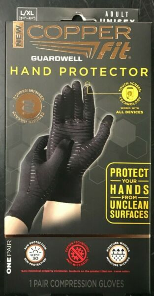 Copper Fit Guardwell Gloves Full Finger Hand Protection L XL NEW Factory Seal