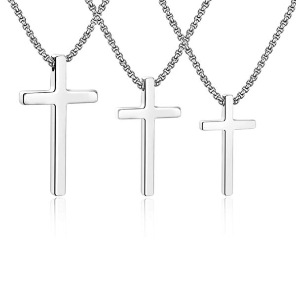Silver Stainless Steel Cross Pendant Necklace for Men Women Box Chain 16quot; 24quot; $7.99