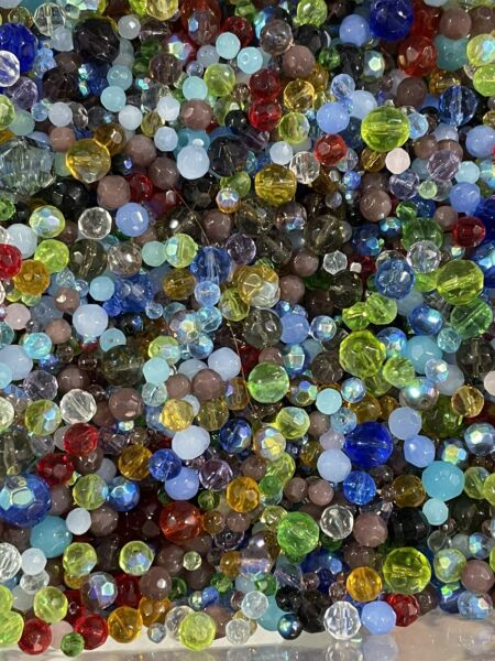 New 3oz Lot All Glass Mixed Round Faceted Beads Soup Loose👑🐝200 Beads 2 12mm $8.99