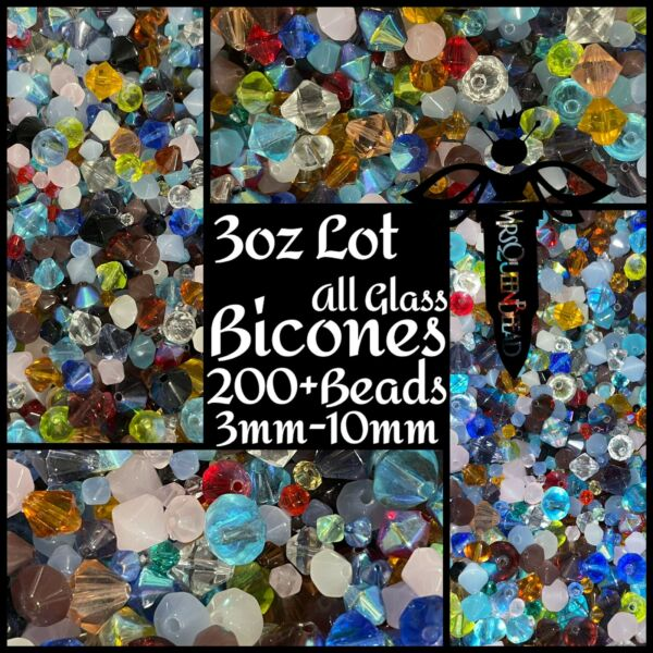 New 3oz Lot All Glass Mixed Bicones🖤Faceted Loose Bead Soup🖤200 Beads 3 10mm $8.99