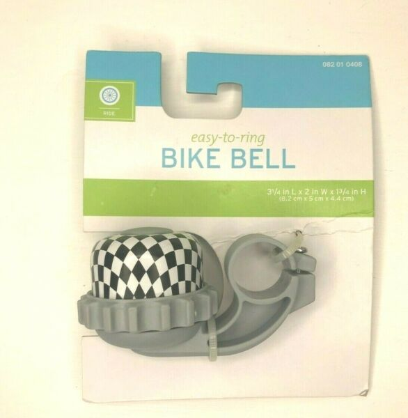 NWT Easy to Ring Bike Bell Bicycle Tricycle BLACK amp; WHITE CHECK HANDLEBAR MOUNT $3.99
