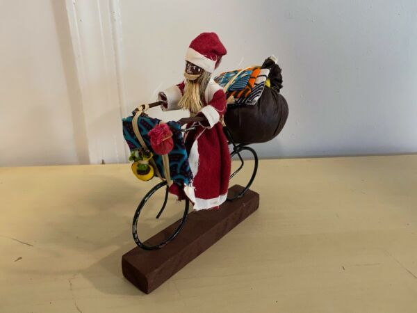 Unique Homemade Hand Crafted Santa Claus Riding Bike Wood Base African American $79.95
