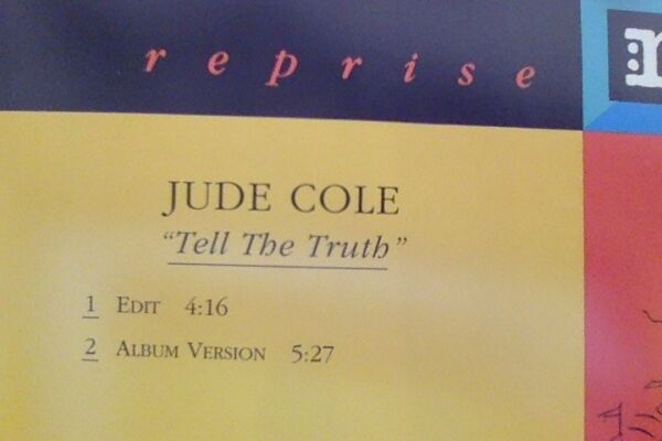 JUDE COLE TELL THE TRUTH US Promo Cd Single start the car