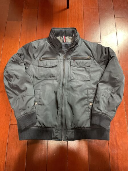 Tommy Hilfiger Mens Navy Bomber Puffer Type Jacket Full Zip Size XL $38.00