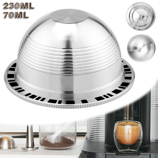 Stainless Steel Refillable For Nespresso Vertuo Coffee Pods Capsules 70 230ml