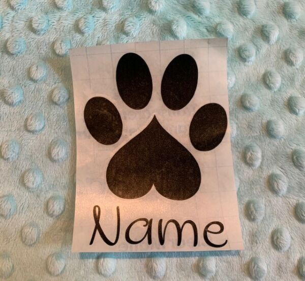 PAW PRINT HEART puppy dogpersonalized with Name indoor vinyl sticker decal $5.50