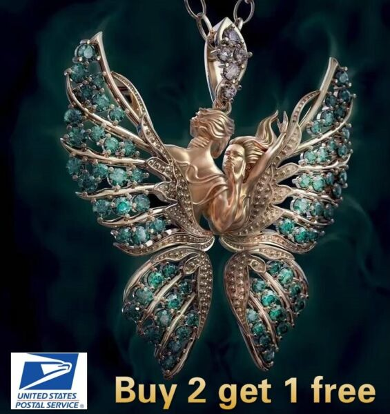 Crystal Angel Wings Butterfly Pendant Necklace Faith and Love Jewelry Fashion $6.99