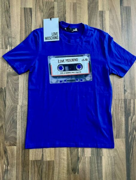 Love Moschino Cassette Print Logo Men#x27;s Blue T Shirt Size SMALL $75.00