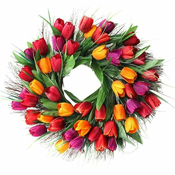 SISJULY Tulip Door Wreath Christmas Fireplace 18amp;quot Artificial Flower Floral
