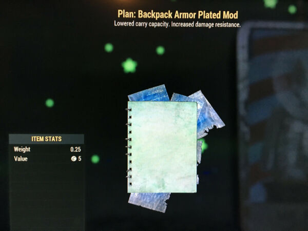 Fallout 76 FO76 PS4 2 Backpack Mod Plans High Capacity Armor Plated or Other $5.00
