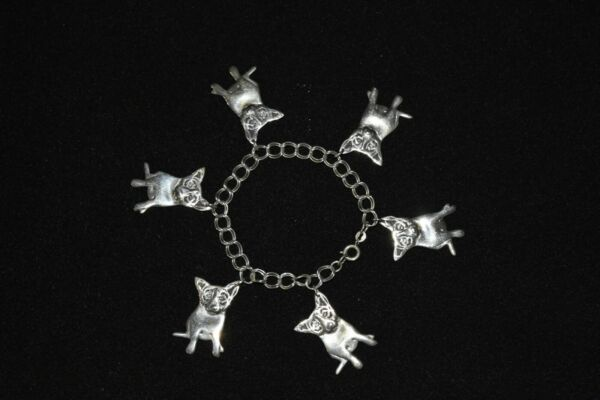 George Rodrigue Blue Dog Sterling Silver Charm Bracelet with 6 Charms $799.00