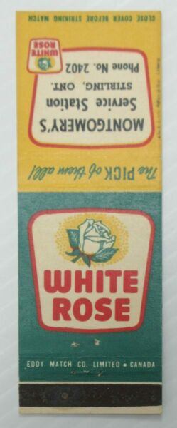 White Rose Oil Gas Stirling Ont. Matchbook Cover