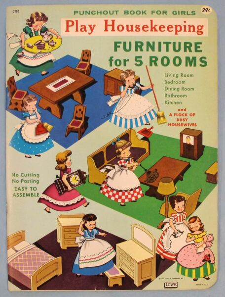 VINTAGE FURNITURE FOR 5 ROOMS PUNCH OUT BOOK #2105 1961 UNPUNCHED LOWE $19.99