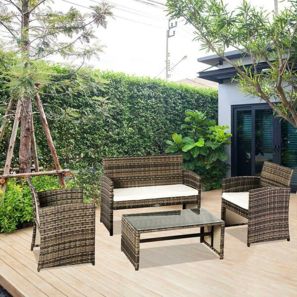 4PC Rattan Wicker Patio Furniture Set Sofa Chair Table Cushioned Garden Outdoor