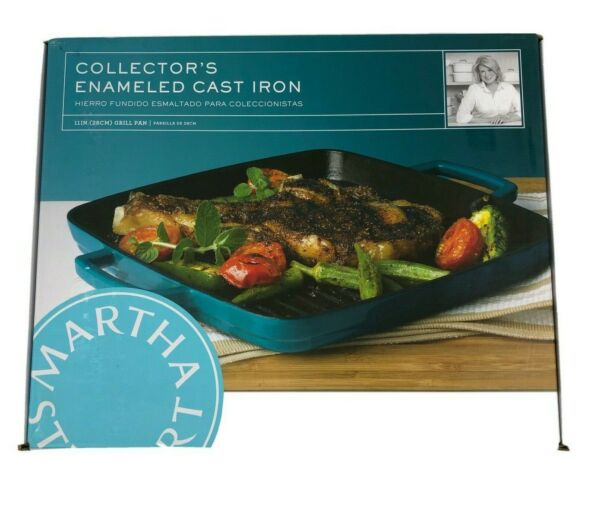 Martha Stewart Collector#x27;s Enameled Cast Iron 11 inch Teal Grill Pan